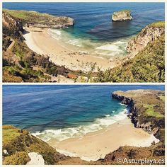 2 extraordinary beaches can be seen from the Boriza viewpoint in #Llanes, #Asturias. Towards West (top image) you can see the Ballota beach while towards East (bottom image) the Andrín beach. A must see if you happen to visit North of #Spain :)