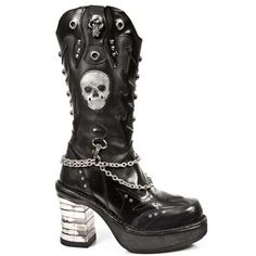 NEWROCK M.8304 GOTH/PUNK LEATHER BOOT WITH SKULL MOTIF | eBay