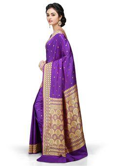 Violet and Golden Pure Banarasi Silk Handloom Saree with Blouse: SAVA348