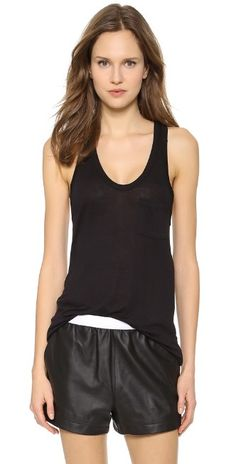 T by Alexander Wang Classic Tank with Pocket | SHOPBOP