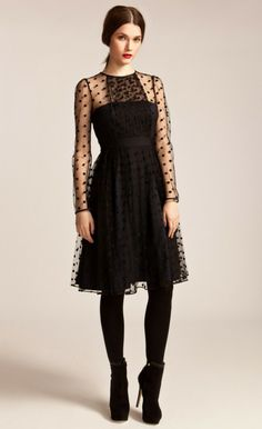 Black, Illusion Long Sleeved Polka Dot Dress | Temperley London