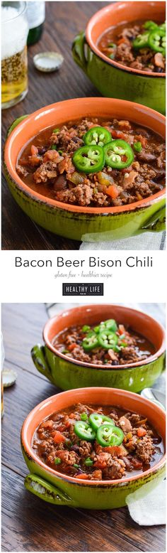 Bacon Bison Beer Chili the perfect cool weather food recipe.  Layers of ingredients using  bacon, bison, salsa and beer, leaves you with a big flavor, low calorie, high protein recipe.  Easy to prepare makes this the perfect family recipe, or for watching