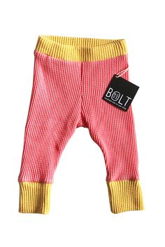 Organic Cotton Thermal Leggings with Cuff - Pink and Yellow - Baby Girl on Etsy, $25.00