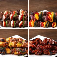 Mix it up this summer with these sweet and savory skewers. 4 Types Of Skewers To Serve At Your Summer BBQ Grilling Recipes, Beef Recipes, Cooking Recipes, Skewer Recipes, Grill Meals, Grilling Ideas, Cooking Games, Tasty Videos, Food Videos
