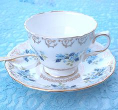 Vintage Tea Cup Set English Bone China Teacup and Saucer Set Colclough Baby Blue Daisies and Gold Mid Century England