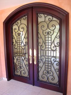 Honduran Mahogany double door entrance with Baldwin H/W. Customer in Honduras. Retirement Home for an executive living in LA!