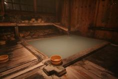 Natural Japanese Onsen (hotspring) The water is often cloudy because of minerals etc in the water.