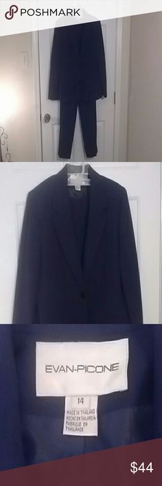 EVAN PICONE 2-Piece Elegant Business Suit Stunning Design, Extremely Well Made, Looks Brand New.  Fully Lined Jacket and Trousers. Just Beautiful. Evan Picone Other