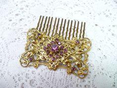 Vintage PURPLE RHINESTONE Antiqued Gold Hair by ElegantiTesori