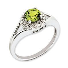 Round Peridot August Birthstone Diamond Sterling Silver Ring Available Exclusively at Gemologica.com