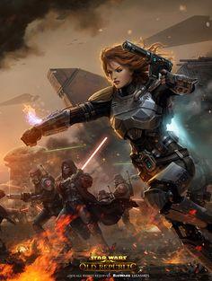 Bounty Hunter [Star Wars: The Old Republic] Shae Vizla Star Wars Concept Art, Star Wars Fan Art, Star Destroyer, Cyberpunk, Samurai, Photo Star, Star Wars The Old, Female Armor, Nerd