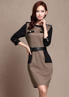Laconic Deep Coffee Paned Three Quarter Sleeve Shift Dress.    ,Dresses Style: Brief     ,Neckline: Round neck     ,Sleeve Length: Three Quarter Sleeve     ,Dresses Silhouette: Straight     ,Material: Polyester     ,Dresses Length: Mini