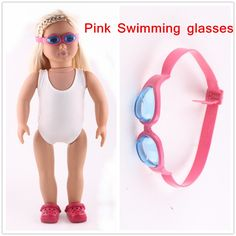"Doll accessories,Pink   Swimming glasses Wear fit 18"" American Girl Doll , Children best Birthday Gift"