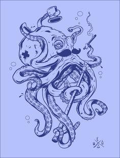 gentlemen octopus by Mikhail Efimenko, via Behance