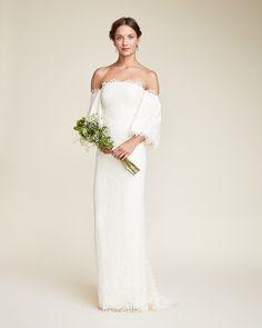 boho bohemian off the shoulder nicole miller Bell Bridal Gown