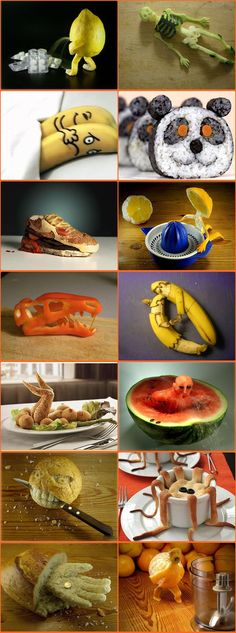 Food Art -- funny (and frightening! Cute Food, Good Food, Awesome Food, Funny Food, Food Carving, Snacks Für Party, Food Decoration, Fruit Art, Food Crafts