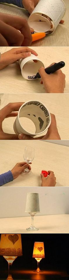 This project is super easy, right?  If you feel hard to draw inside the cup, then cut on dark paper, then paste. Materials Needed: Paper cup Candle Knife Pen Wine glass
