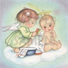 Vintage Baby Image with Angels- Digital, printable, download, from greeting card by pixygirl2 on Etsy https://www.etsy.com/listing/88661261/vintage-baby-image-with-angels-digital
