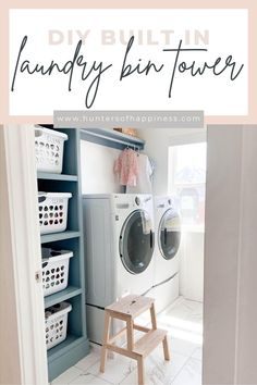 Ever since we moved into this house I've wanted a laundry bin tower in our small laundry room. One day I decided to just go for it and build it myself! It was much easier than I was expecting!! It only took a day to get it done! I LOVE the way it looks and it is SO functional! Our Laundry Room magically feels larger! #laundryroomtower #laundrystorage #laundryroom
