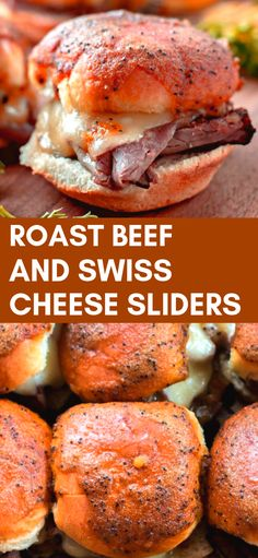 Roast Beef and Swiss Cheese Sliders – the perfect get together and party food, ENJOY! Sandwich Bar, Slider Sandwiches, Sandwich Recipes, Appetizer Recipes, Chicken Sandwich, Sandwich Ideas, Roast Beef Sliders, Roast Beef Sandwiches, Roast Beef Sauce