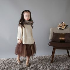 oversized fisherman rib sweater & tulle skirt x