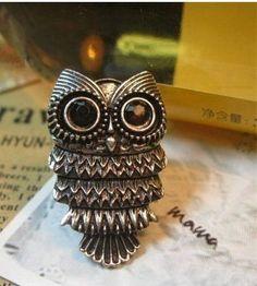 Adjustable Vintage Retro Nickel Silver Pewter Owl Ring - http://cheune.com/a/81017858302220705