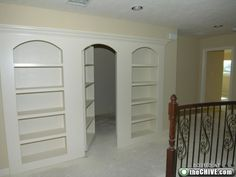 """Finaly a bookshelf that doesn't LOOK like is a door. Come one, why would you put door trim around your """"secret"""" door?"""