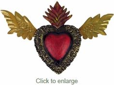"Mexican Flying Heart Decoration - Painted Tin Folkart -11"" w x .5"" d x 7"" h - $24"
