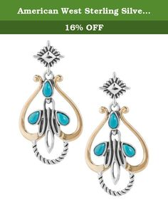 American West Sterling Silver Brass Turquoise Drop Earrings. American West brings you these beautifully designed mixed metal turquoise earrings. Designed with three stunning cabochons of turquoise gemstones and swirling brass and sterling silver designs, these earrings are a perfect addition to your western collection.