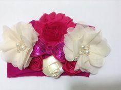 Tiara de flores rosa y beich VIDEO No. 285
