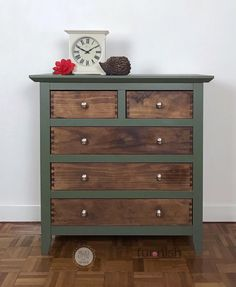 "Rustic Green and Wood Chest of drawers. Partially hand painted in ""Bayberry"" green mineral paint by Green Furniture, Paint Furniture, Furniture Projects, Furniture Makeover, Furniture Design, Wood Bedroom Furniture, Modern Furniture, Refurbished Furniture, Repurposed Furniture"