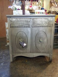 Silver nightstand with lace details $155