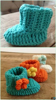 Crochet Spring Flower Baby Booties Free Pattern-Crochet Ankle High Baby Booties Free Patterns