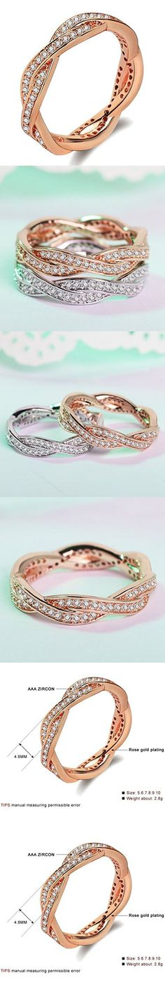 Women's Infinity Rings 18K Rose Gold Plated Twist Fate 2 Bands Eternity Promise Rings for Her Cross Shank Bridal Engagement Wedding Halo Ring Size 9
