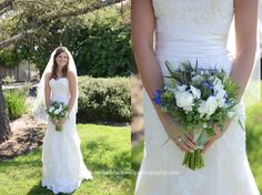 Beautiful wine country wedding. Country-rustic style bouquet featuring ranunculus and blue delphinium.  Photography by Rachel Blackwell Photography.