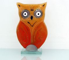 fused glass  Glass orange owl  Sculpture   by virtulyglass on Etsy, $30.00