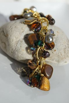 Tigers Eye Pearl and Crystal Wire Wrapped Charm by studiogracie