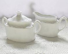 Vintage Ironstone Cream & Covered Sugar / Ridgway Potteries / Staffordshire Ironstone