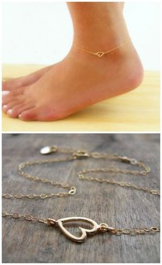 Minimal and delicate heart anklet