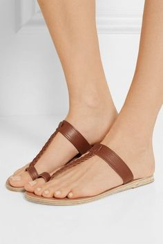 Ancient Greek Sandals - Melpomeni Braided Leather Sandals - Brown - IT37