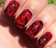 Water marble that looks like a rose! Nail Designs, Nail Tutorials | Nail It! Magazine