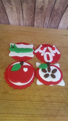 Mothers Day Apple Fondant Cupcake, Cake, Cookie Toppers. Set of 12 (one dozen) 3 of each pattern.