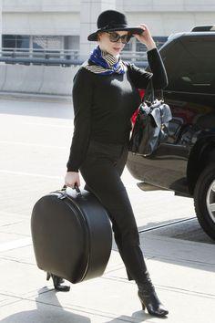 Christina Hendricks JFK travel chic March 23, 2012 - The Cut