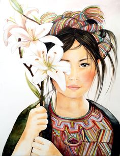 Girl with lilly from Nebaj Guatemala by PrintIllustrations on Etsy, Claudia Tremblay Art And Illustration, Guatemalan Art, Scrapbooking Image, Claudia Tremblay, Woman Drawing, Mexican Art, All Art, Painting & Drawing, Watercolor Art