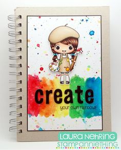 Art Journal cover using Stamp Anniething - Violet clear stamp