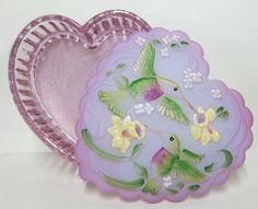 Fenton Art Glass - Hummingbird Treasure Box with Lavender Lid and Madras Pink Base