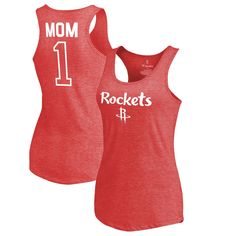 Houston Rockets Fanatics Branded Women's Number 1 Mom Tri-Blend Tank Top - Red