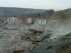 Centralia, Pennsylvania. Site of a disastrous coal mine fire, and inspiration for Silent Hill.
