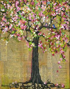 Art Tree Bird Print Wall Decor Bluebirds Blossoms por blendastudio