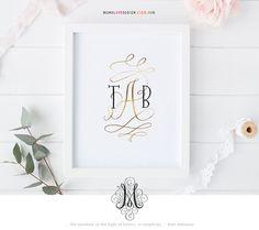 Instant Download Wall Art: Typographic Wedding Monogram Design